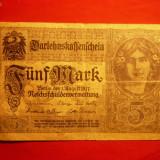 Bancnota Straine - Bancnota 5 Marci 1917 Germania, cal.medie