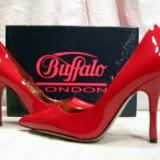 Pantofi dama Buffalo, Piele naturala - Pantofi femei, rosi de lac (piele naturala), (9930-361 PATENT RED) Buffalo - REDUCERE EXCEPTIONALA DE PRET