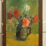 Garoafe 40 x 57 cm, ulei pe carton, flori - Pictor roman, Flori, Ulei, Realism