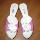 Papuci, Sandale, Platforme cyclamen din piele naturala, cu talpa interesanta, HB,  nr. 38