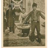 1046 - BUCURESTI, Birt NATIONAL cu vin negru de Dealul Mare si vanzatori ambulanti - old postcard - used - 1917