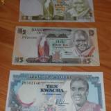 Bancnota Straine - Lot 3 bancnote Zambia 2kwacha, 5 si 10 kwacha UNC necirculate