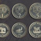 MACEDONIA SET COMPLET FAO DE MONEDE 1, 2, 5 Denari 1995 UNC