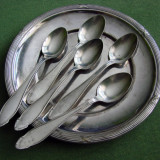 Set de cinci lingurite argintate cu farfurioara veche argintata, provenienta Suedia