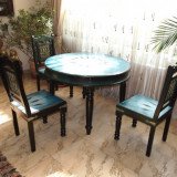 set masa + 3 scaune lucrate manual,din lemn natur de palisandru cu insertii fier forjat,pictate manual de pictor Octavian Pilat