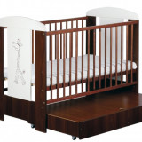 Patut lemn pentru bebelusi, 120x60cm - Patut Copii Din Lemn Cu Sertar SAFARI GIRAFFE Venghe