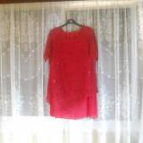 Costumas rosu - Costum dama, Marime: 50, Costum cu fusta