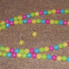 Colier si si cercei din margele multicolore - Set bijuterii handmade si fashion