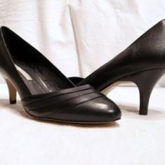 Pantofi dama Buffalo, Piele naturala - Pantofi negri, comozi Buffalo, piele, (107-12929 BLACK)