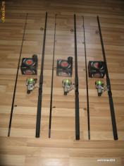 Lanseta - Set 3 Lansete 3 Metri din 2 bucati + 3 Mulinete + Rod Pod Full