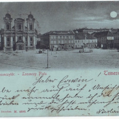2338 - L i t h o, TIMISOARA, Market, Church, Moon - old postcard - used - 1898 - Carte Postala Banat pana la 1904, Circulata, Printata