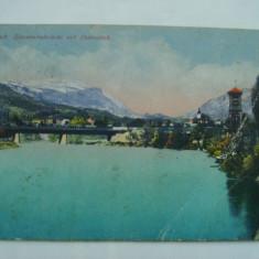Villach - Eisenbahnbrucke mit Dobratsch (1917), vedere / ilustrata / carte postala circulata, fara timbru, Austria