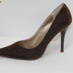 DEOSEBITI ! Pantofi de gala maro, lurex - (Belle Woman 169-1 brown) REDUCERE EXCEPTIONALA DE PRET - Pantof dama, Marime: 36, 38, 39, 35