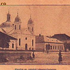 Romania, Lapusul Unguresc, carte postala circ. 1925: Biserica gr.catolica, animat - Carte Postala Maramures 1904-1918, Circulata, Fotografie