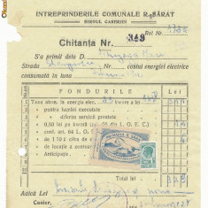 RFL ROMANIA 1941 timbru fiscal local Ramnicu Sarat Buzau pe document evreiesc