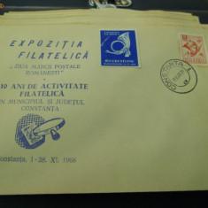 PLIC OCAZIONAL 10 ANI DE ACTIVITATE FILATELICA 1968 CONSTANTA