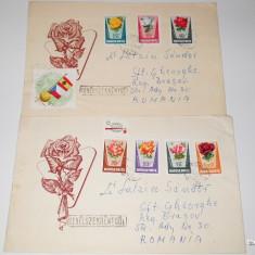 Set 2 plicuri UNGARIA, cu serie,, Trandafiri''1962, circulate! - Plic Papetarie