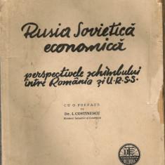Victor Melega - Rusia Sovietica economica ( perspectiva schimbului intre Romania si URSS ) - 1936 - Carte Economie Politica