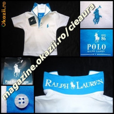 TRICOU firma brand POLO by RALPH LAUREN COPII VARSTA 1 - 2 - 3 ANI ALB cu TURCOAZ BUMBAC 100% TRICOURI BAIETEI COLECTIE NOUA, Culoare: Bleumarin, Gri