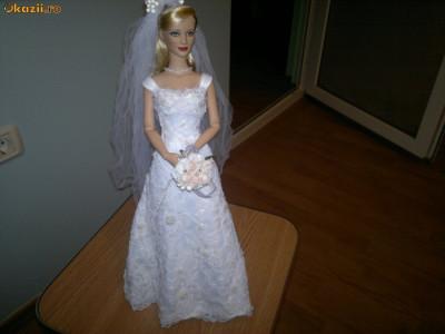 Papusa (Cat. Papusi) Barbie Rochie | Rochii Mireasa Tip Pronovias Cristale Eleganta Superba Accesorii Completa UNICAT Okazii Super Oferta Cadou foto