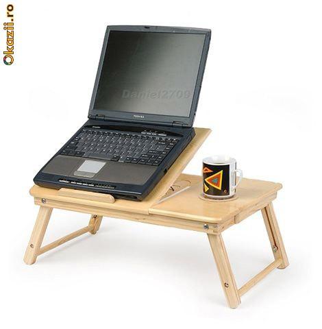 Masuta Laptop / Masuta Mic Dejun de lemn de inalta calitate foto mare