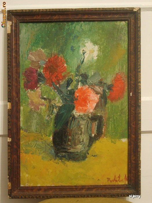 Garoafe 40 x 57 cm , ulei pe carton , flori foto mare