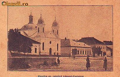 Romania,Lapusul Unguresc,carte postala circulata 1925: Biserica gr.catolica,animat foto mare
