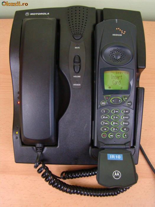 TELEFON   PRIN SATELIT   IRIDIUM   MOTOROLA   ANTENA EXTERNA SI CABLU foto mare