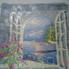 """Tablou pictori romani - Ulei pe panza superb pictat semnat,, Nicos"""" adus din Cipru"""