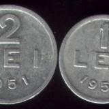 Monede Romania - * Lot 2 monede 1 leu si 2 lei 1951