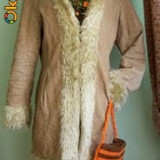 Palton dama, Camel, Reiat - Palton velur si blanita