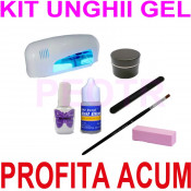kit profesional unghii false cu gel- kit manichiura gel -kit gel uv + lampa uv 9w gel uv-primer-tipsuri + accesorii -set kit unghii false foto