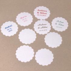50 etichete personalizate - marturii nunta/ botez - lichidare stoc/ pret mic