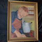 PETRE HARTOPEANU - Ulei pe carton - Autoportret - Elevul lui Nicolae Tonitza ! - Pictor roman, Realism