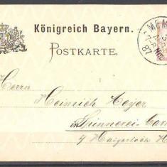 1887 Bayern Carte postala cu filigran