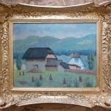 Tablou - Peisaj rural cu case vechi - semnat C.Vulcan