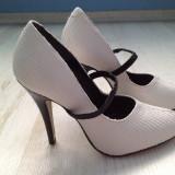 Pantofi dama Asos, Marime: 39, Alb - Pantofi eleganti din piele stantata alba