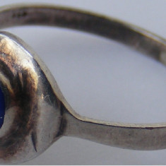 Inel vechi din argint cu piatra lapis lazuli (4) - de colectie - Inel argint