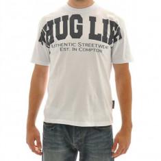 Tricou Thug Life Hip Hop - Tricou barbati, Marime: XL, Culoare: Alb, Maneca scurta, Bumbac