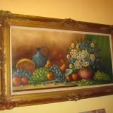 TABLOU MARE - PICTURA ULEI PE PANZA SEMNAT - PICTOR STRAIN, Natura moarta, Impresionism