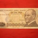 Bancnota 10 Lire TURCIA 1970, cal.medie