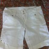 Pantaloni 3/4 dama din panza albi - Pantaloni dama, Marime: 36, Trei-sferturi