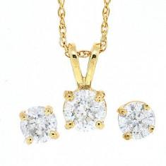 Set bijuterii aur - Set bijuterii din aur galben de 14 K cu diamante
