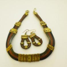 Set Colier + Cercei (bijuterii fantezie) AURIU - Set bijuterii handmade si fashion