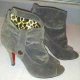 Botine / pantofi gri decupati / marimea 36.