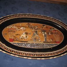 Splendid platou mare decorativ vechi Egipt din lemn.