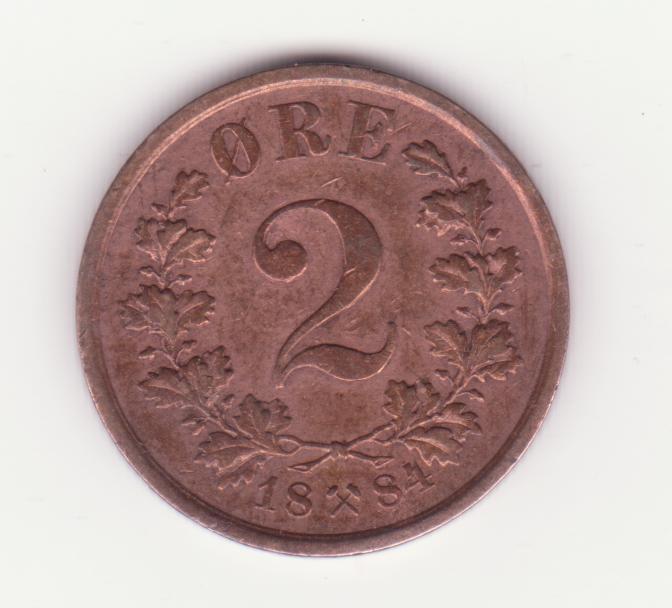 Moneda Norvegia - 2 Ore 1884 foto mare