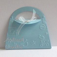 Invitatie botez/ nunta - poseta cu flori cires - Invitatii botez