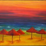 Umbrele pe plaja - semnat monogramic - Tablou autor neidentificat