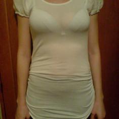 Bluza alba pentru colanti, marimea S - Bluza dama Made in Italia, S, Maneca scurta, Casual, Vascoza